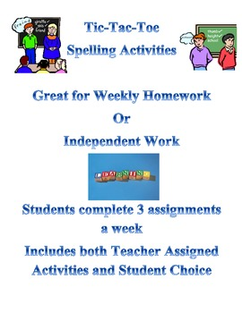 Spelling Tic Tac Toe Ind. Assignments for Upper Elementary