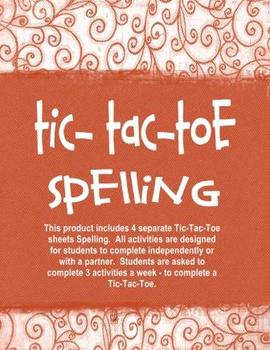 Spelling Tic-Tac-Toe Independent Activities