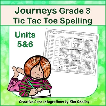 Spelling Tic Tac Toe Journeys Grade 3 Units 5-6
