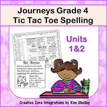 Spelling Tic Tac Toe Journeys Grade 4 Units 1-2