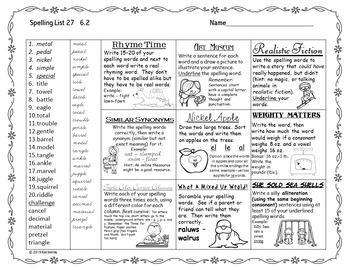 Spelling Tic Tac Toe Journeys Grade 4 Units 3-4