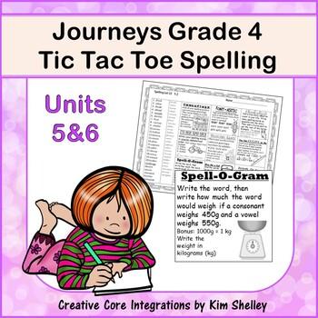 Spelling Tic Tac Toe Journeys Grade 4 Units 5-6