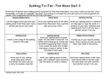 Spelling Tic-Tac-Toe Menu Choice Board