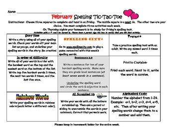 Spelling Tic Tac Toe Menu Package {August-July}