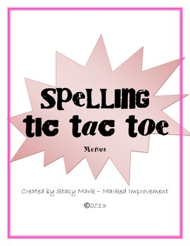 Spelling Tic Tac Toe Menus