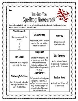 Spelling Tic Tac Toe - Mid Grades