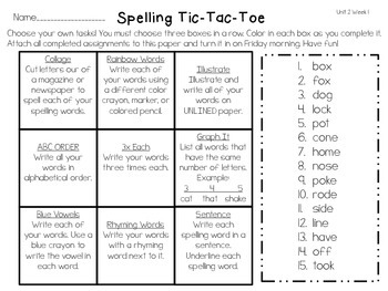 Spelling Tic Tac Toe Reading Wonders Unit 2, Grade 2