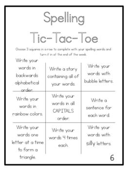 Spelling Tic-Tac-Toe Sheets (6)