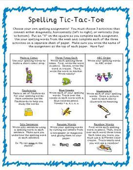 Spelling Tic-Tac-Toe: Spelling Homework or Classroom Word Work