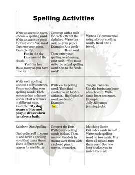 Spelling Tic-Tac-Toe Spring Theme