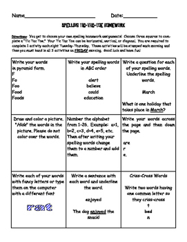 Spelling Tic Tac Toe Weekly Activity