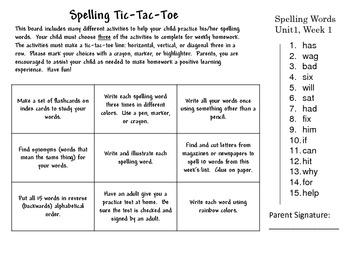 Spelling Tic-Tac-Toe Wonders Unit 1 weeks 1-5