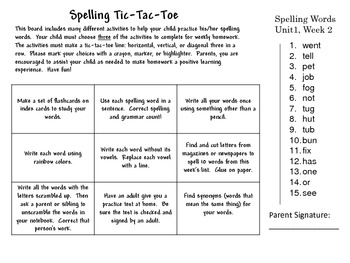 Spelling Tic-Tac-Toe Wonders Unit 1 weeks 1-5