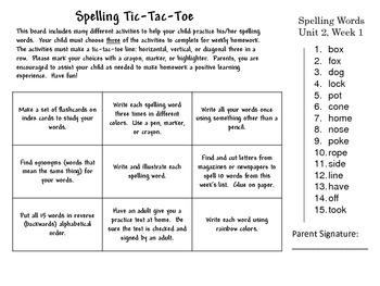 Spelling Tic-Tac-Toe Wonders Unit 2 weeks 1-5