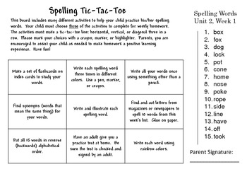 Spelling Tic-Tac-Toe Wonders Unit 2 weeks 1-5