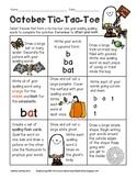 October Spelling Tic-Tac-Toe