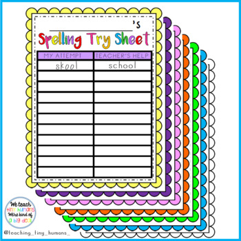 Spelling Try Sheet