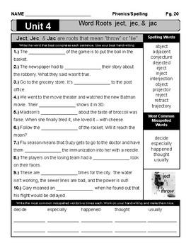 Spelling Unit: #4 Prefixes Ject, Jac, & Jec