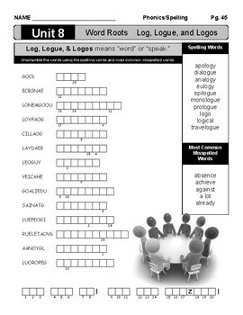 Spelling Unit: #8 Word Roots Log, Logue, and Logos