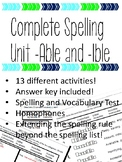 Complete Spelling Unit (Able/ Ible) with Prefixes (In)