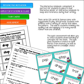 Double the Final Consonant Spelling Word Study Unit