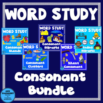 Word Study Consonants Bundle (blends, clusters, digraphs,silent letters)