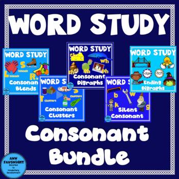 Word Study Consonants Bundle (blends, clusters, digraphs,silent letters)