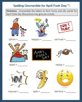 Spelling Unscramble for April Fools' Day