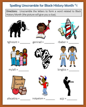 Spelling Unscramble for Black History Month