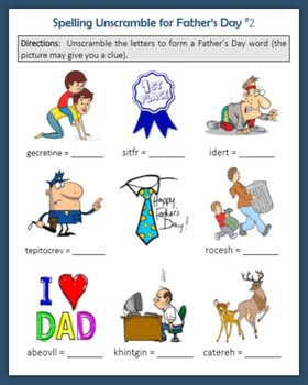 Spelling Unscramble for Father's Day