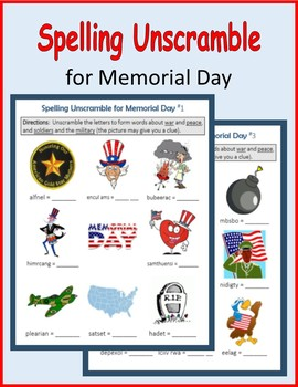 Spelling Unscramble for Memorial Day