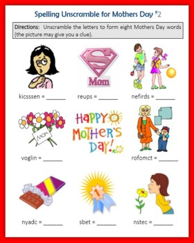 Spelling Unscramble for Mother's Day