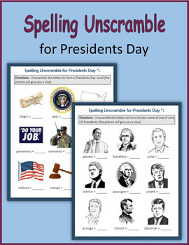 Spelling Unscramble for Presidents Day