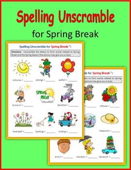 Spelling Unscramble for Spring Break