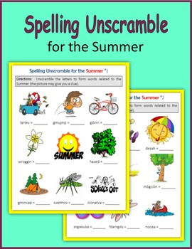 Spelling Unscramble for the Summer (End of Year)