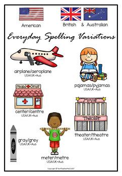 Spelling Variations Posters American Vs British/Australian