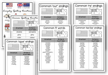 Spelling Variations Posters American Vs British Australian