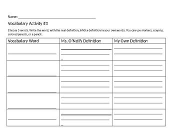 Spelling / Vocabulary Activities Word Work