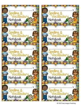 Spelling & Vocabulary Notebook Labels Combined