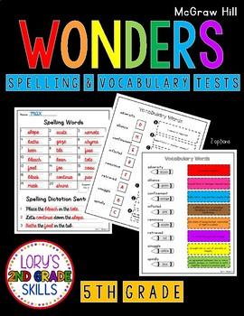 Spelling & Vocabulary Tests 5th Grade WONDERS