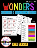 Spelling & Vocabulary Tests 5th Grade WONDERS Growing Bundle