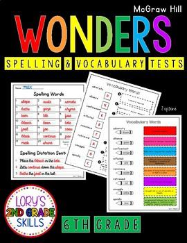 Spelling & Vocabulary Tests 6th Grade WONDERS Growing Bundle
