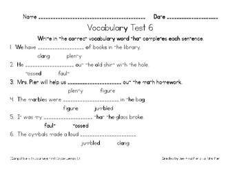 Spelling & Vocabulary Tests (Compatible with Journeys First Grade Lessons 6-10)