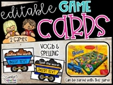Spelling & Vocabulary Train Centers -  EDITABLE Train Game Cards