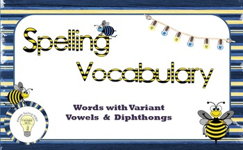 Spelling Vocabulary: Words with Variant Vowels and Diphthongs