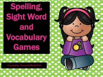 Spelling, Vocabulary and Sight Word Review Games