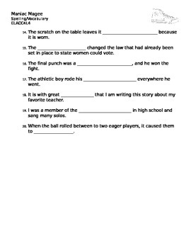 Spelling Vocabulary list for Maniac Magee