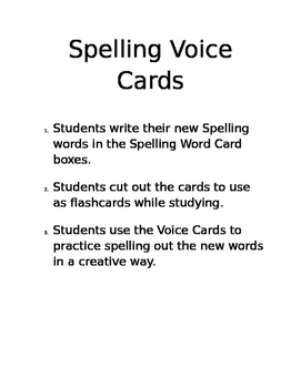 Spelling Voice Cards