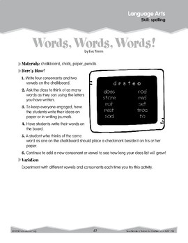 Spelling: Vowels and Consonants (Ten-Minute Activities)