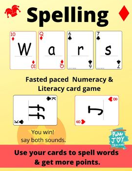 Spelling War Phonics Playing Cards Digraphs, Bossy R, Vowels, Capital & Lower